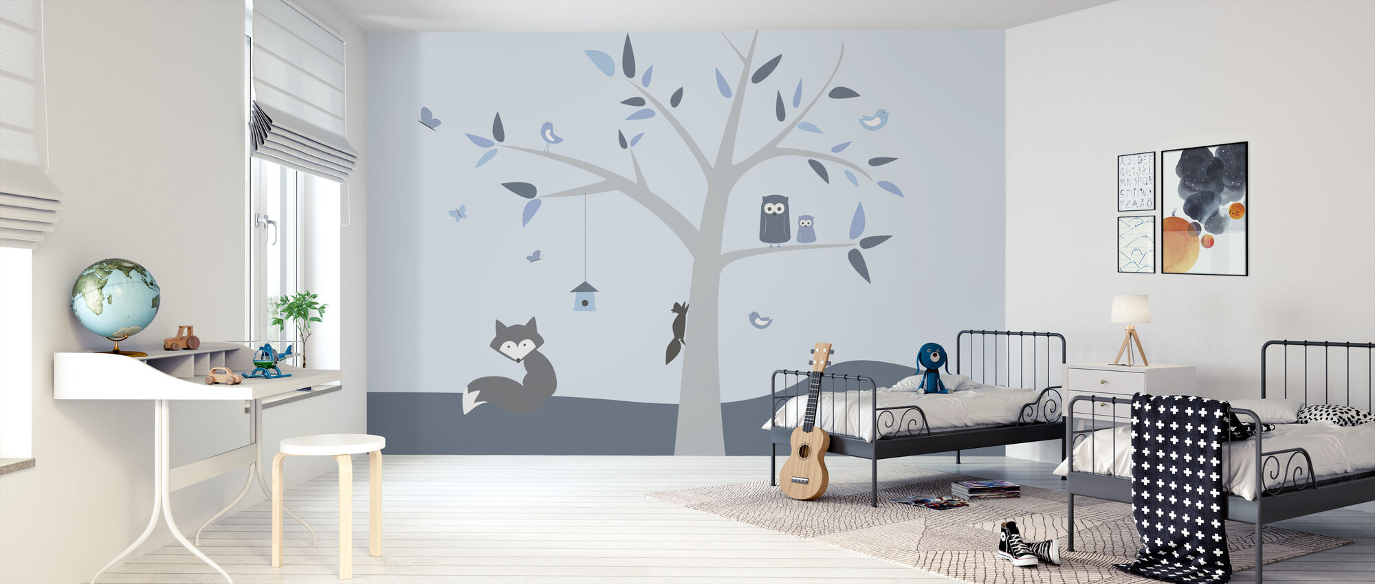 Animal Tree Blue - Wallpaper - Kids Room