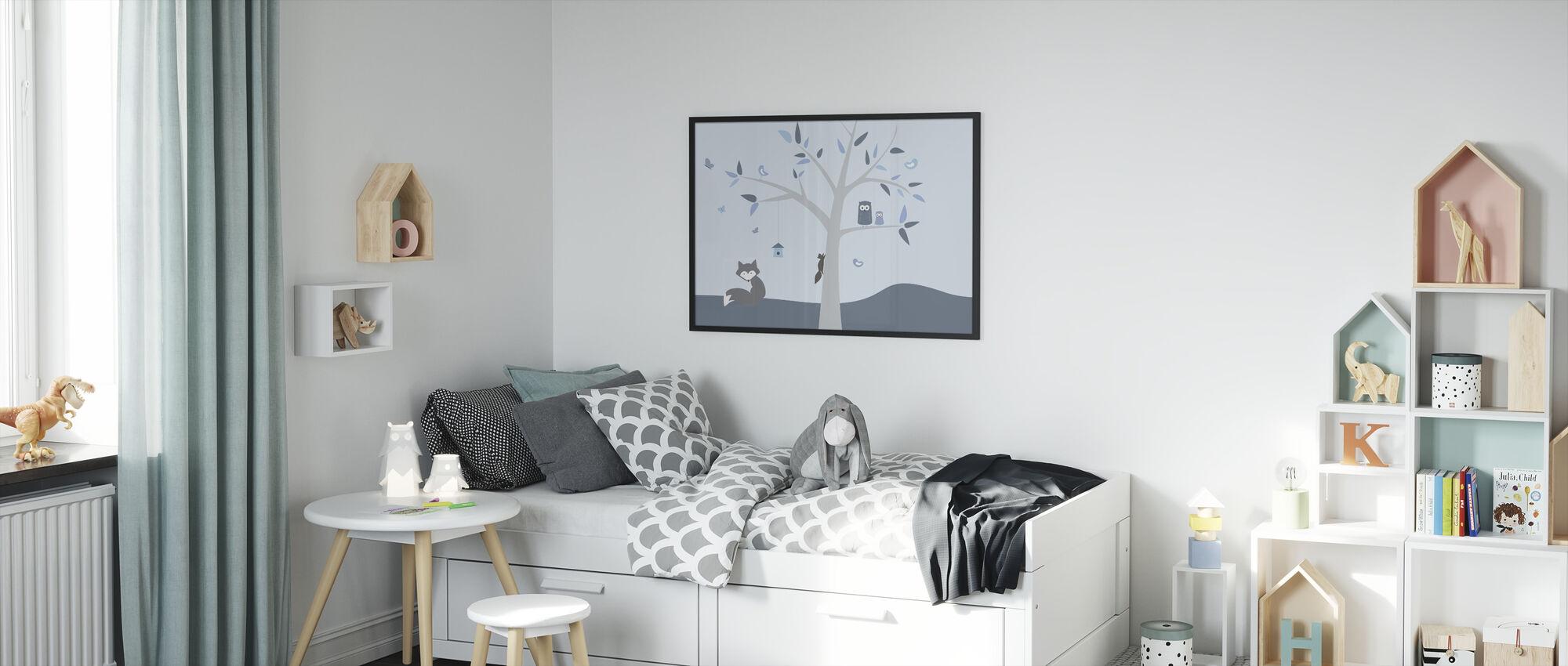 Animal Tree Blue - Framed print - Kids Room