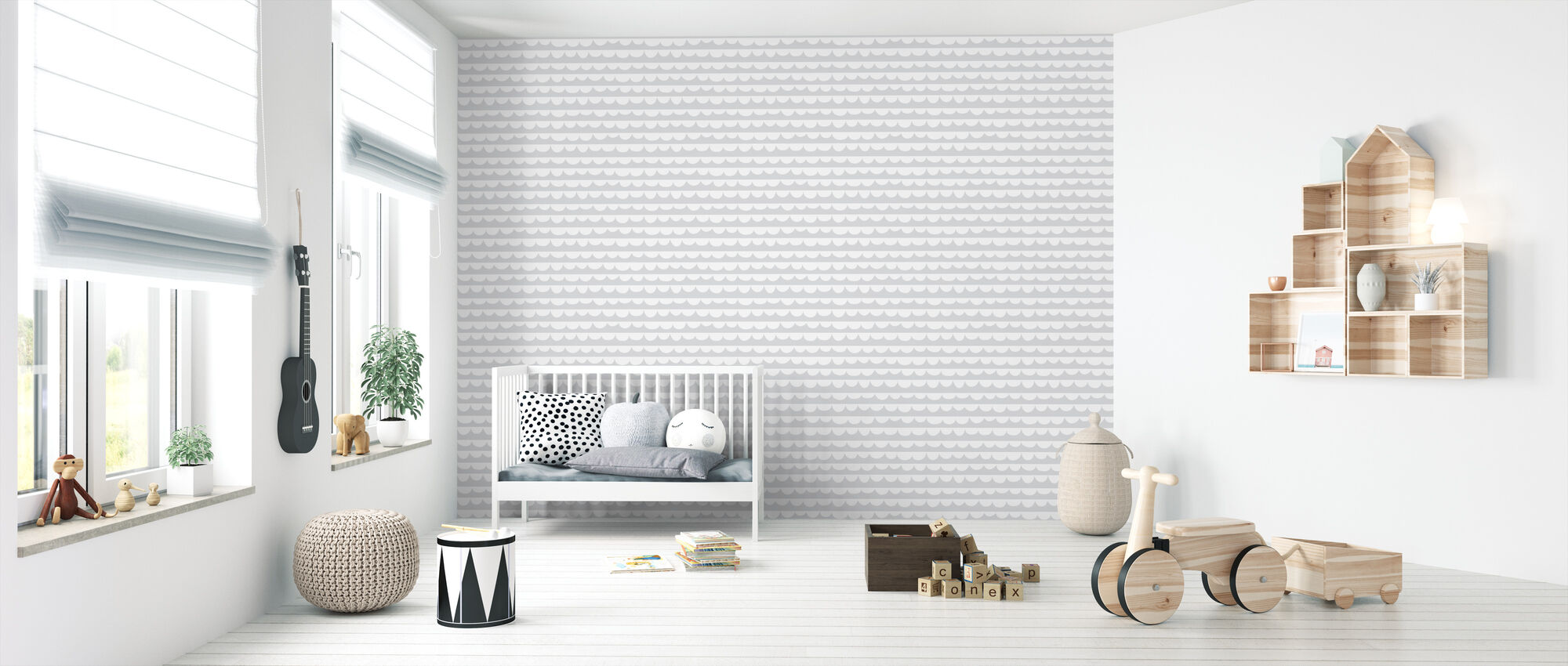 Changing Waves - Gray - Wallpaper - Nursery