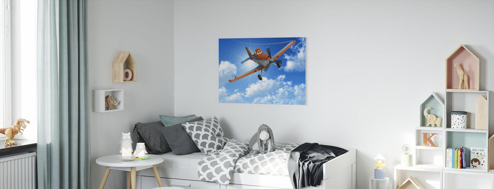 Flygplan - Dammig på himlen - Canvastavla - Barnrum