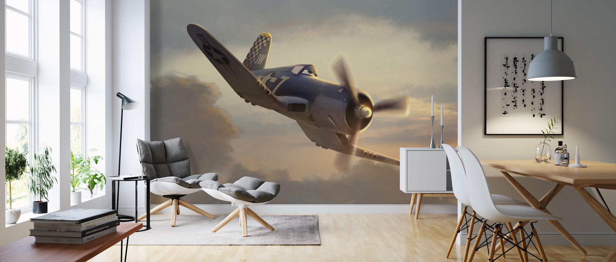 Fly - Skipper en solnedgang - Tapet - Stue