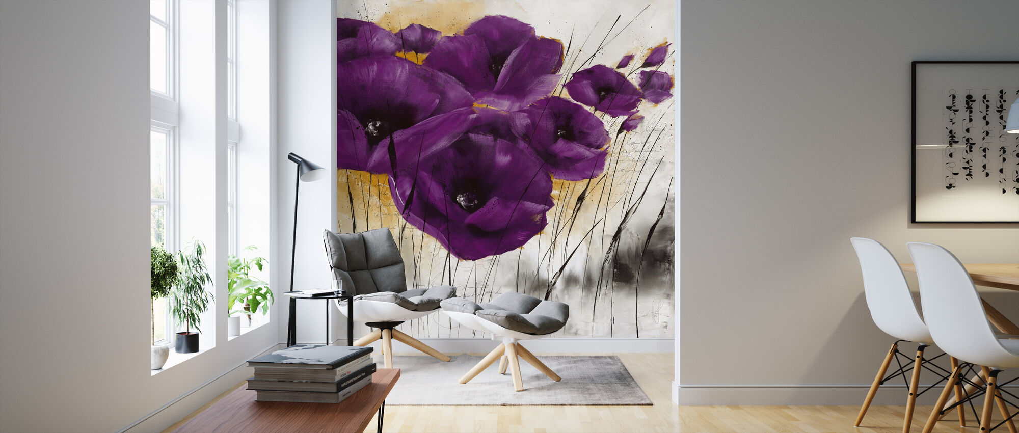 Pavot violet IV - Wallpaper - Living Room