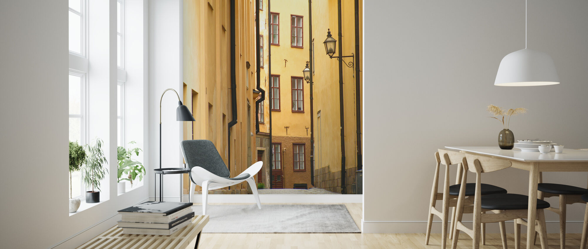Narrow Alley of Stockholm Old Town - Wallpaper - Living Room