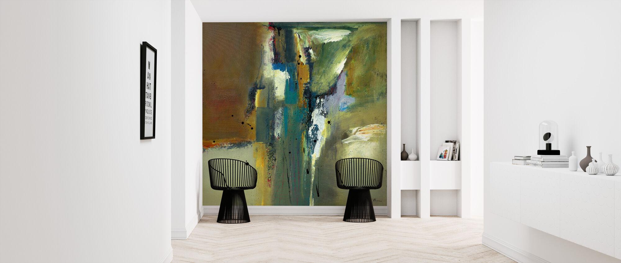 Abstract in Groen - Behang - Gang