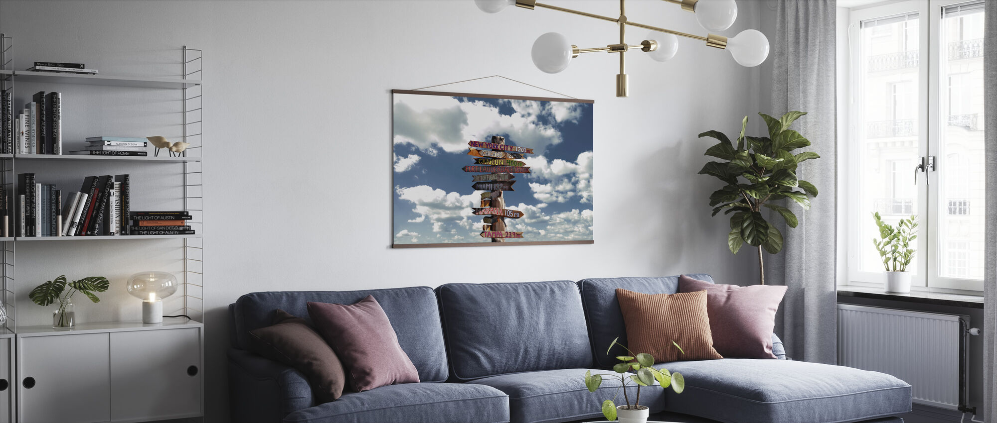 Key West Florida - Sky with Wooden Sign - Poster - Living Room