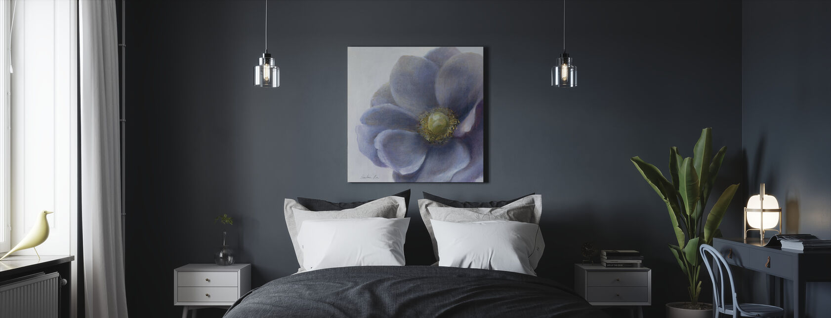 Nykyaikainen Anemone - Canvastaulu - Makuuhuone