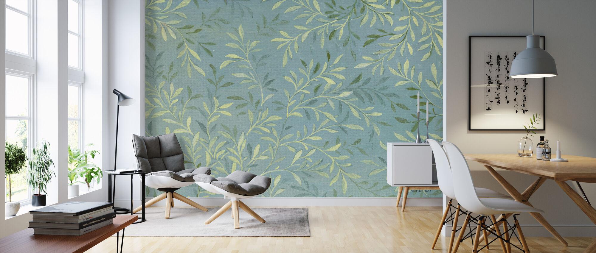 Blätter auf Blau - Tapete - Wohnzimmer