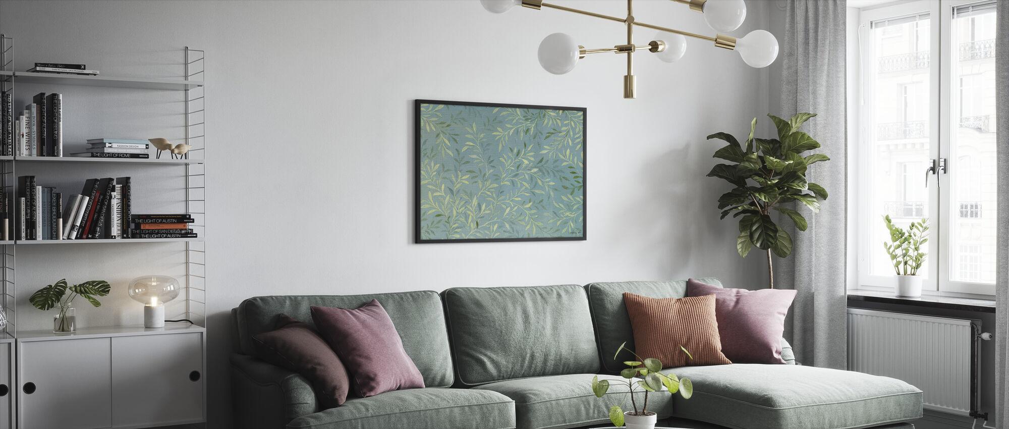 Leaves on Blue - Framed print - Living Room