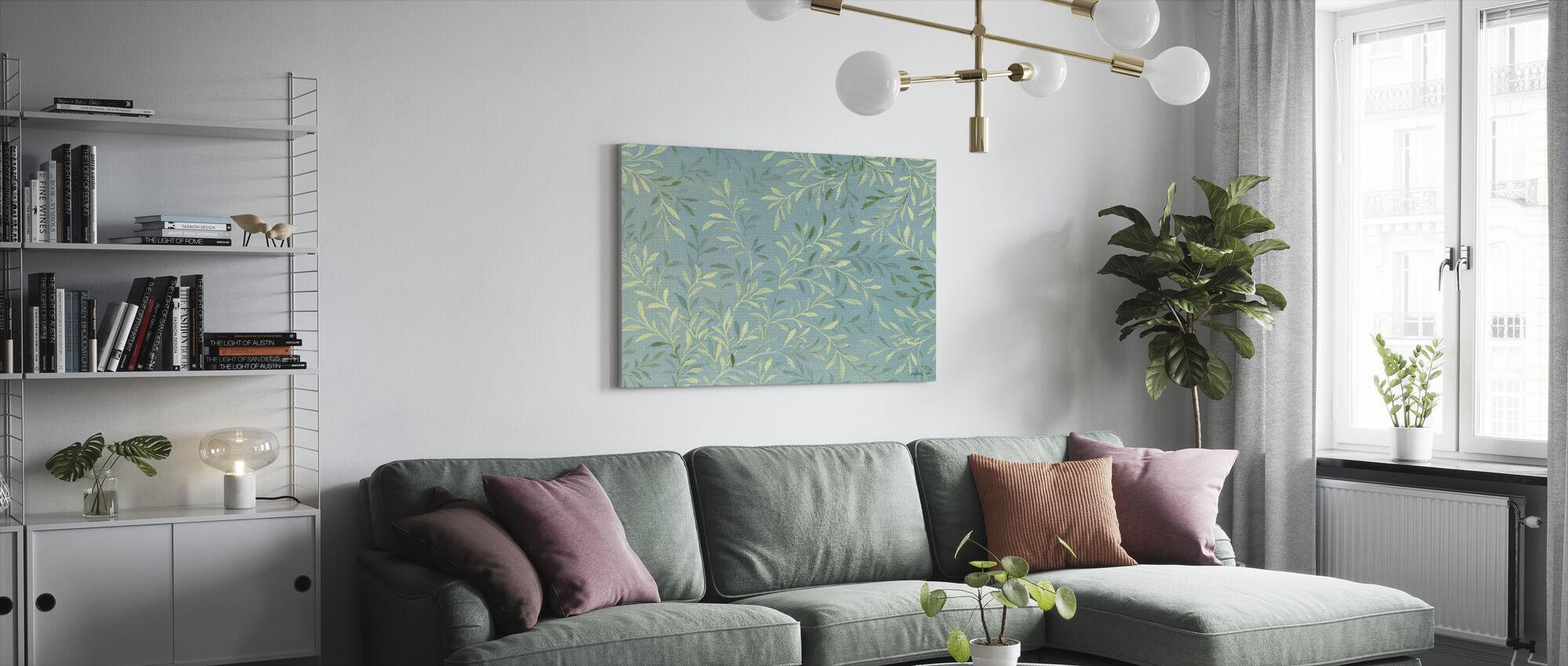 Bladeren op Blauw - Canvas print - Woonkamer