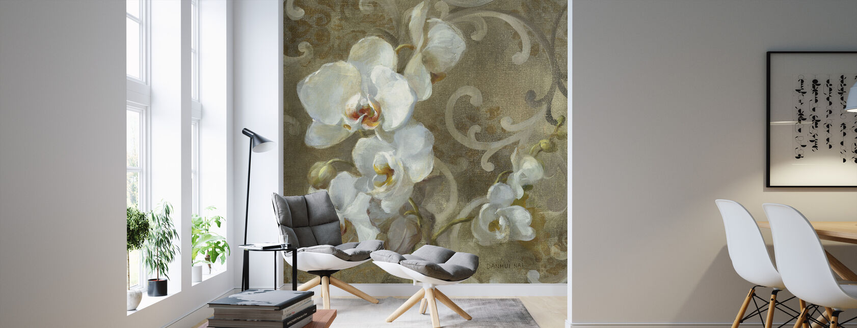 White Orchid Square - Wallpaper - Living Room