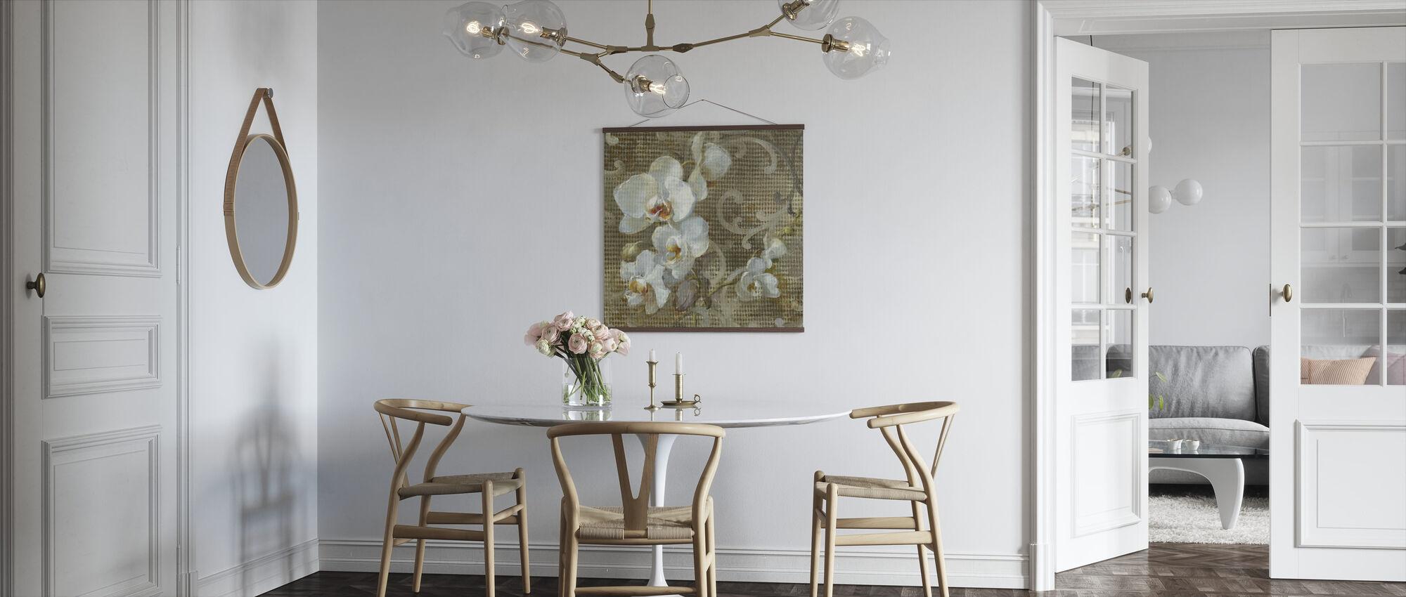 Witte Orchidee Vierkant - Poster - Keuken