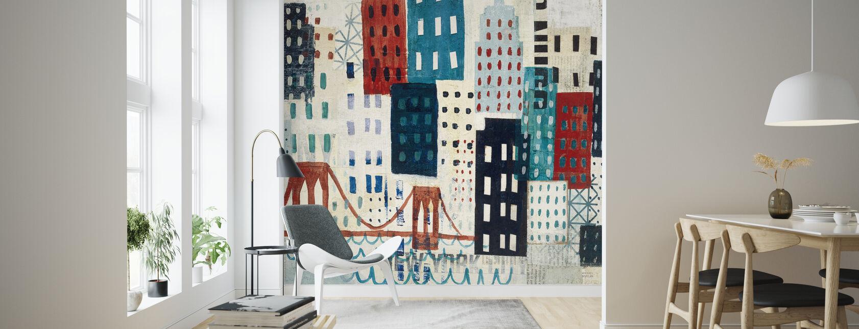 New York Skyline Collage - Blue I - Wallpaper - Living Room