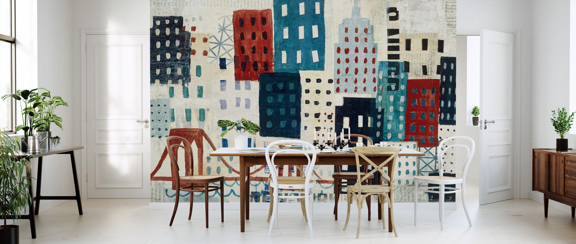 New York Skyline Collage - Blue I - Wallpaper - Kitchen