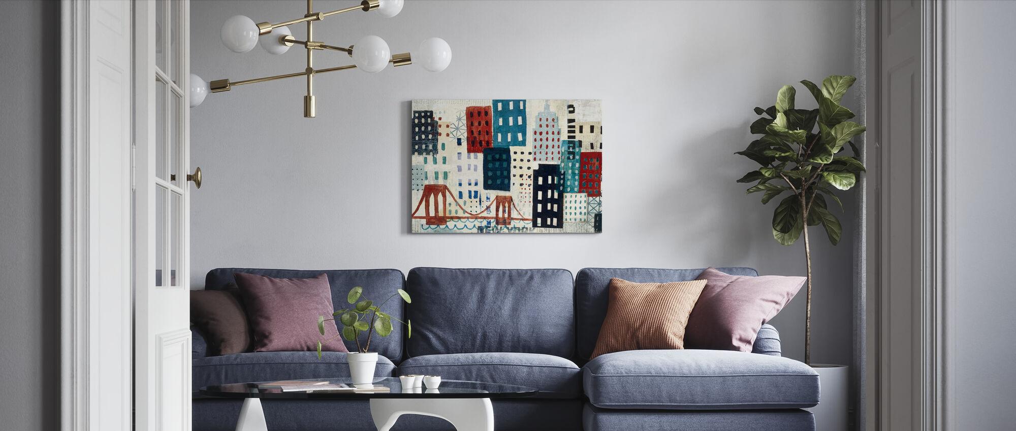 New York Skyline Collage - Blå I - Canvastavla - Vardagsrum