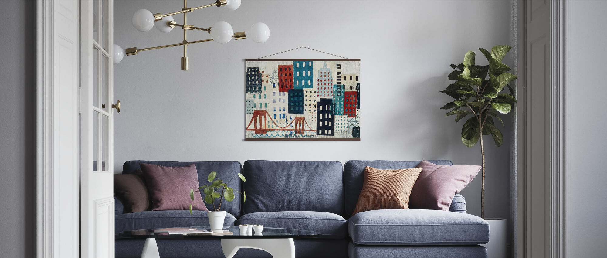 New York Skyline Collage - Blauw I - Poster - Woonkamer