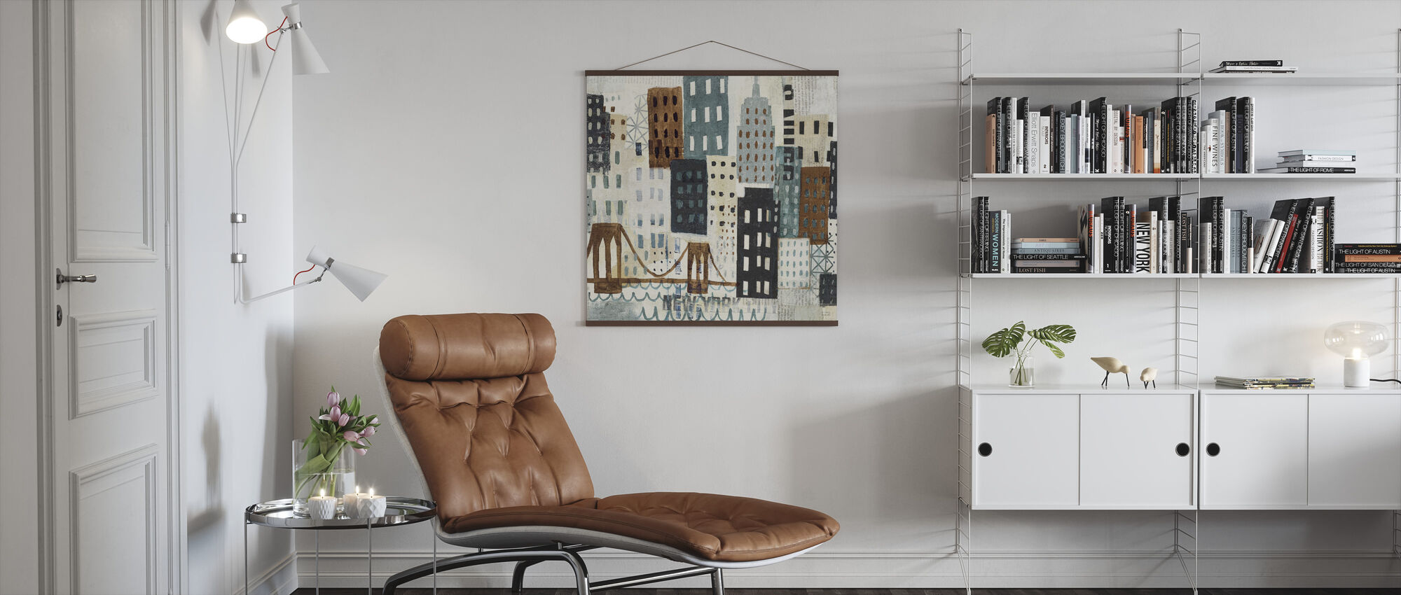 New York Skyline Collage - Grey I - Poster - Living Room