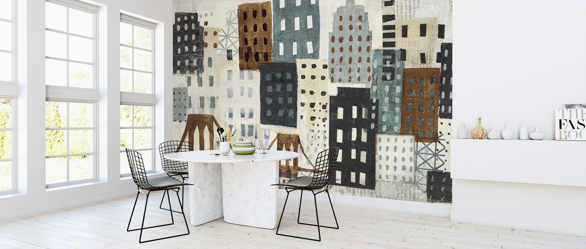 New York Skyline Collage - Grey II - Wallpaper - Kitchen