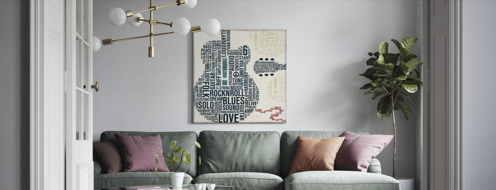 Type Guitar Square II - Canvas print - Living Room