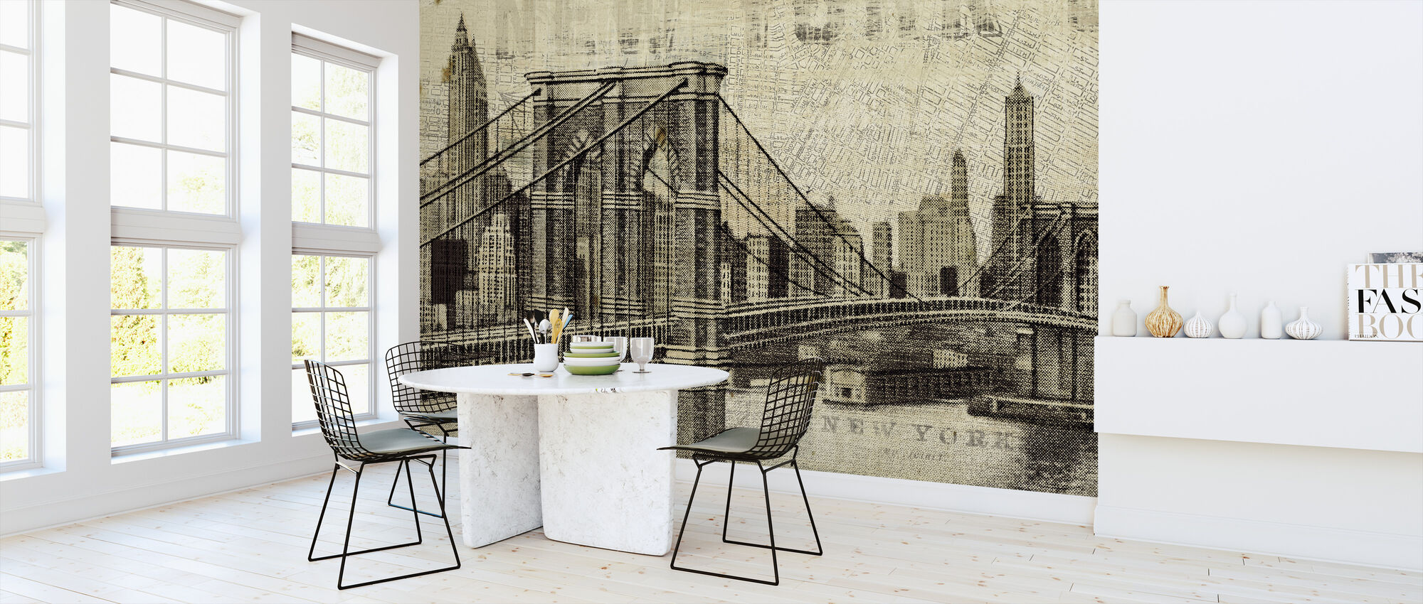 Vintage New York Brooklyn Bridge - Wallpaper - Kitchen