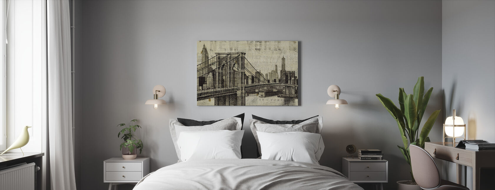 Vintage New York Brooklyn Bridge - Canvas print - Bedroom