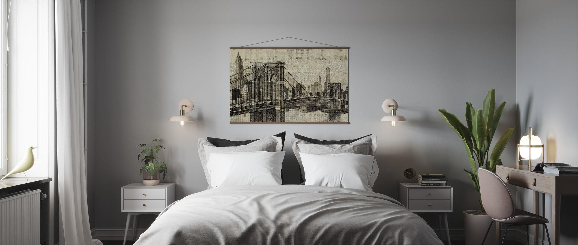 Vintage New York Brooklyn Bridge - Poster - Bedroom
