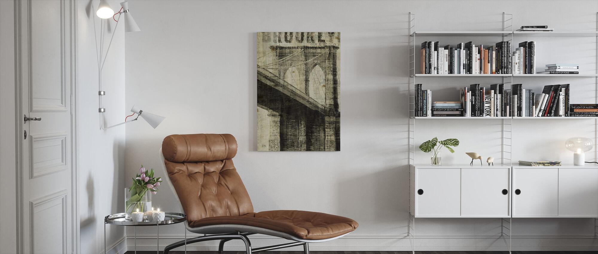 Vintage New York Brooklyn Bridge - Canvas print - Woonkamer