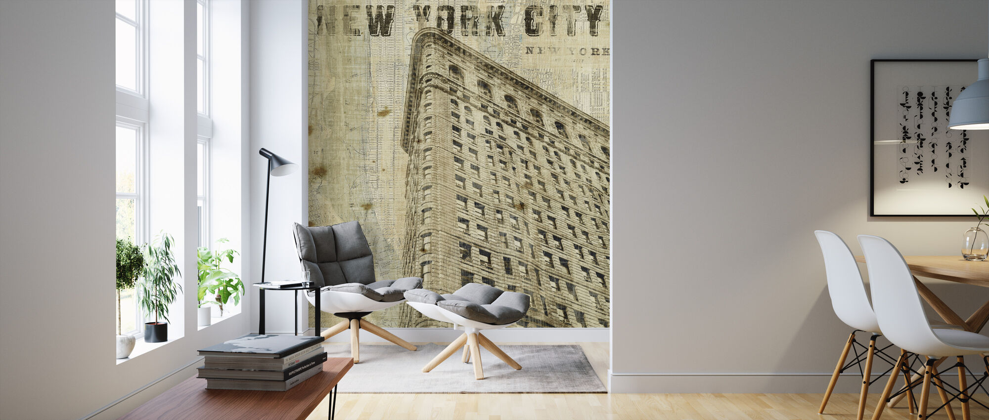 Vintage New York Flat Iron - Wallpaper - Living Room