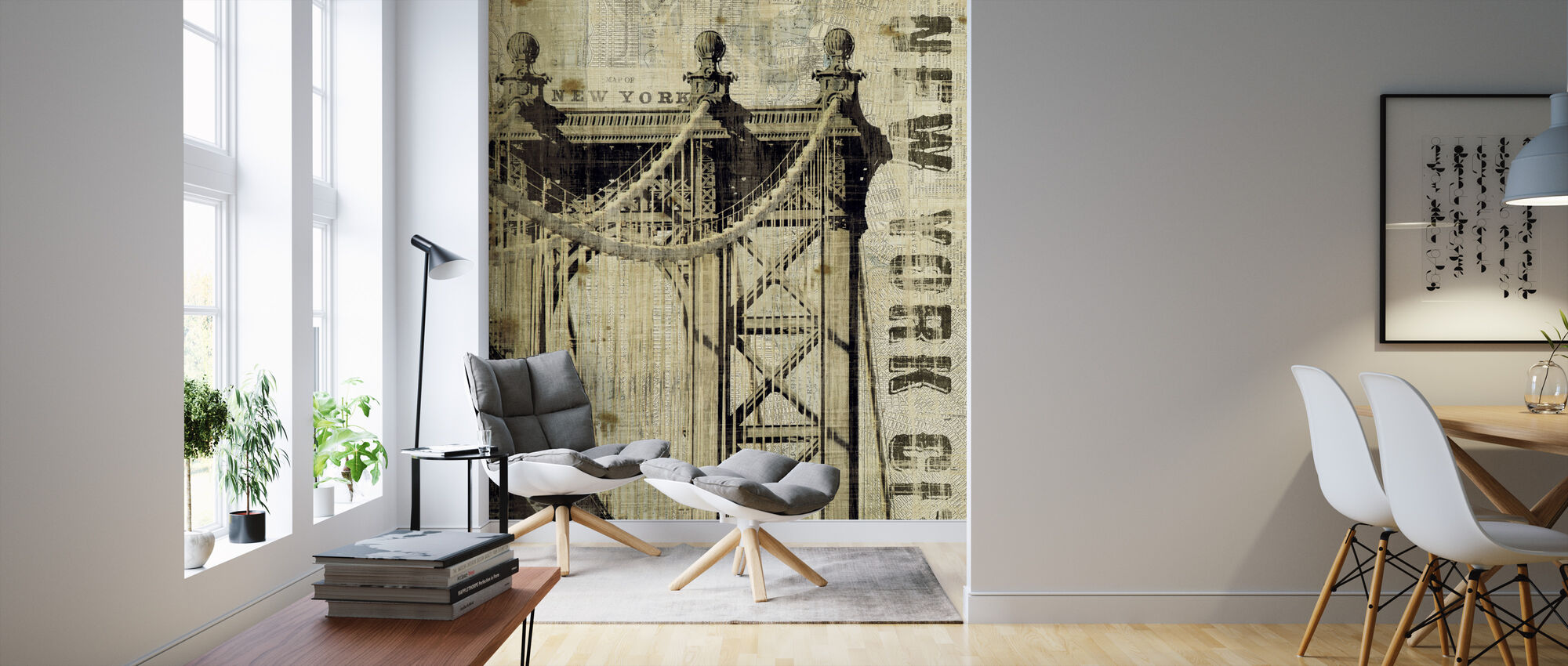 Vintage New York Manhattan Bridge - Wallpaper - Living Room