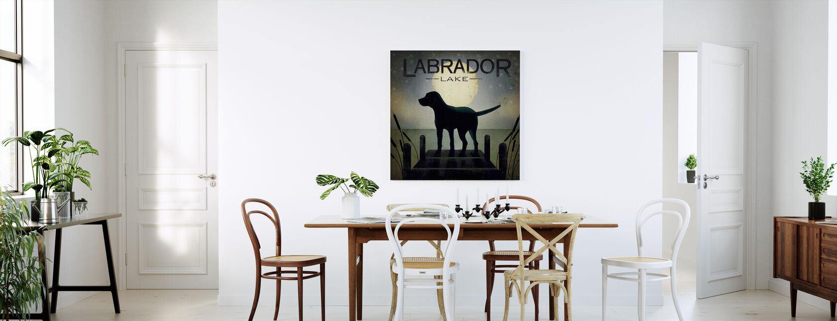 Moonrise Black Dog - Canvas print - Kitchen