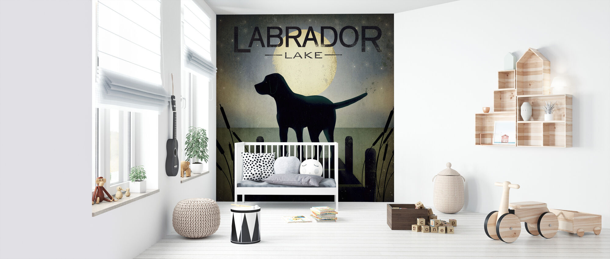Moonrise Black Dog - Wallpaper - Nursery
