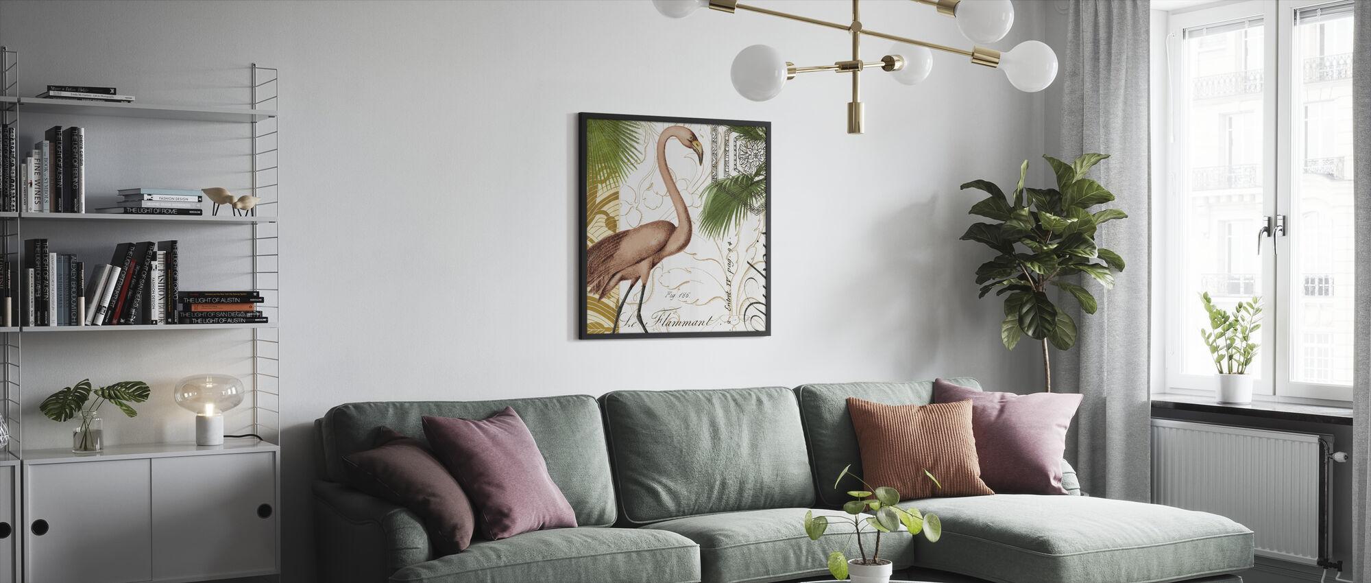 Flamingo Curiosity - Framed print - Living Room