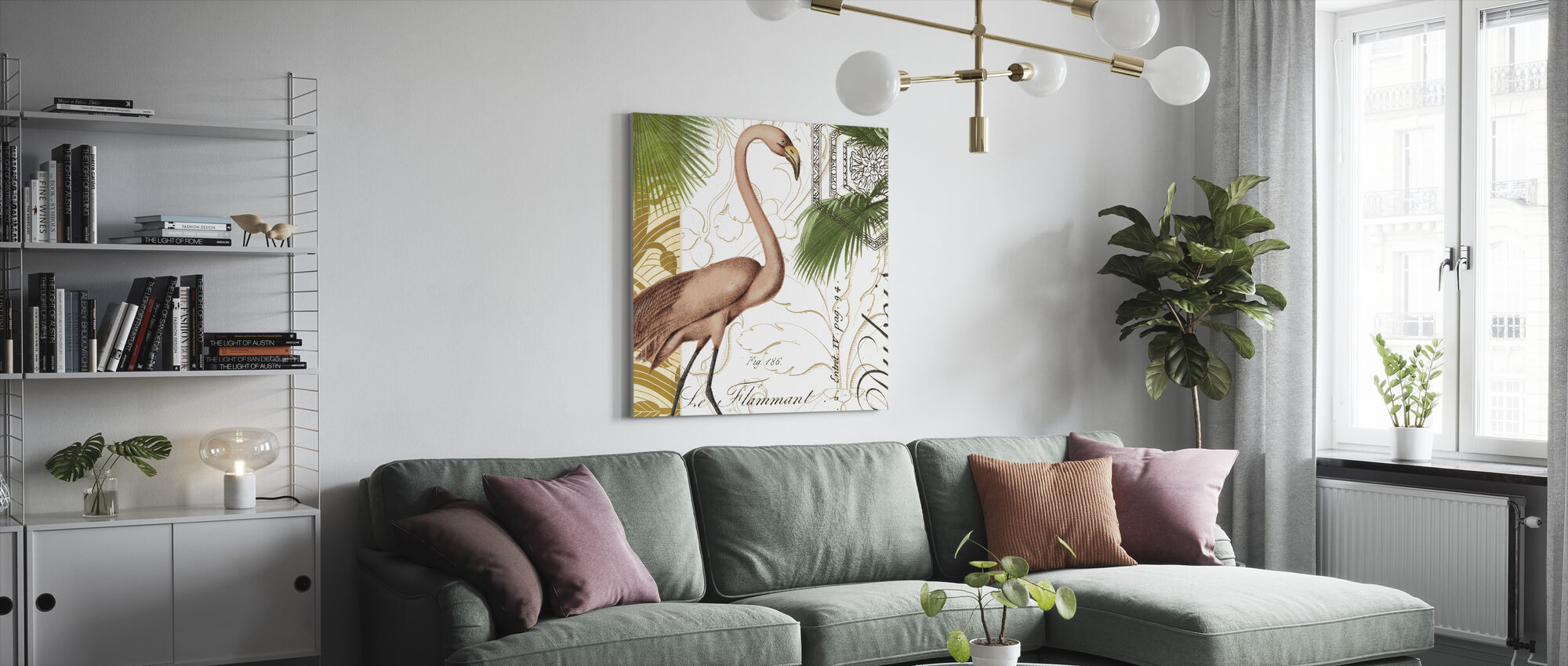 Flamingo Curiosity - Canvas print - Living Room
