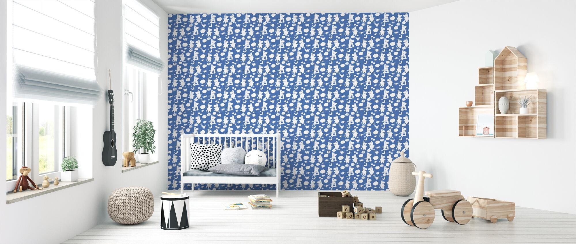 Muumi Retro Pattern - Sininen - Tapetti - Vauvan huone