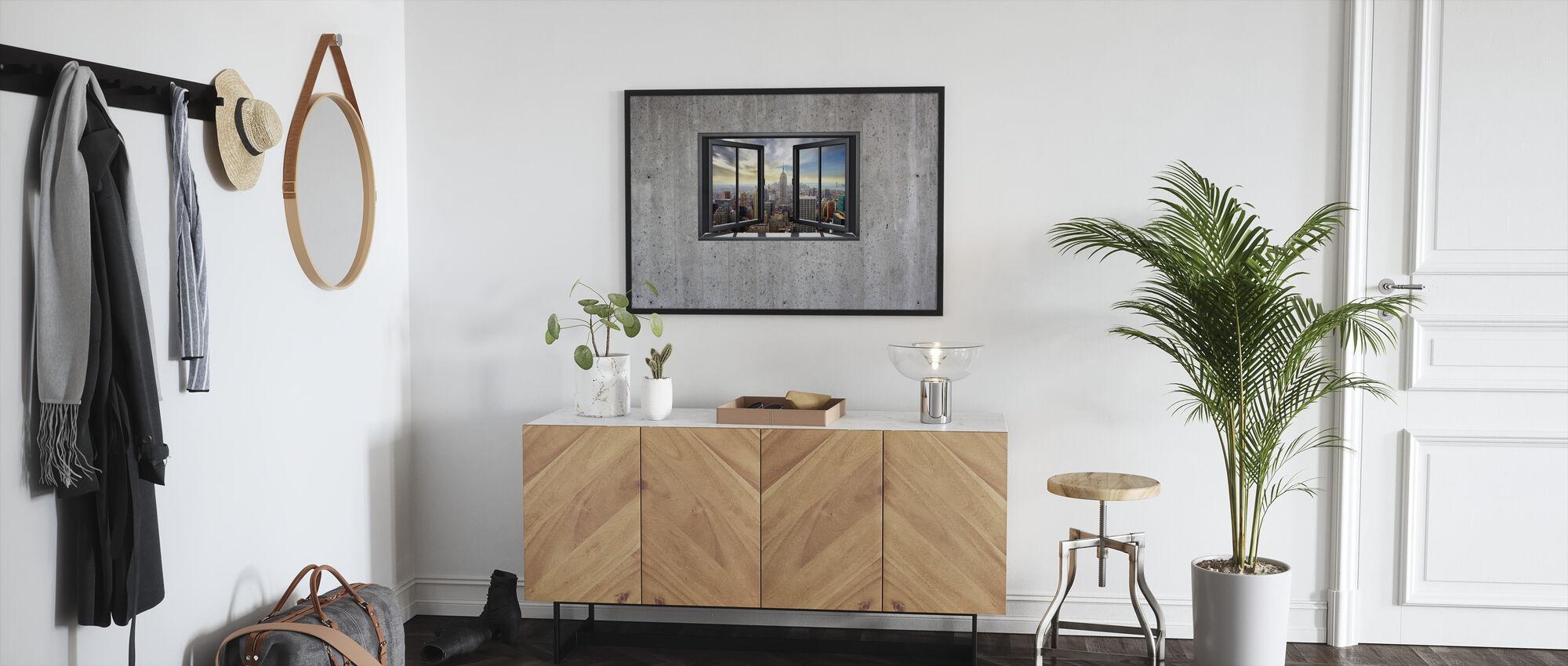 New York Through Window - Concrete Wall - Framed print - Hallway