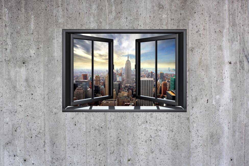 New York Through Window Concrete Wall Wall Mural