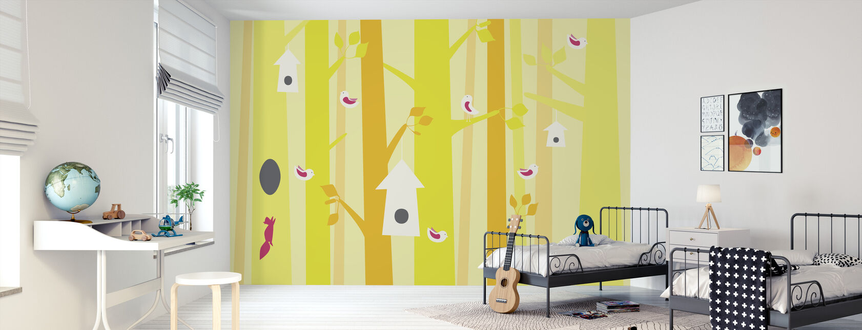 Birdforest - Yellow and Pink - Wallpaper - Kids Room