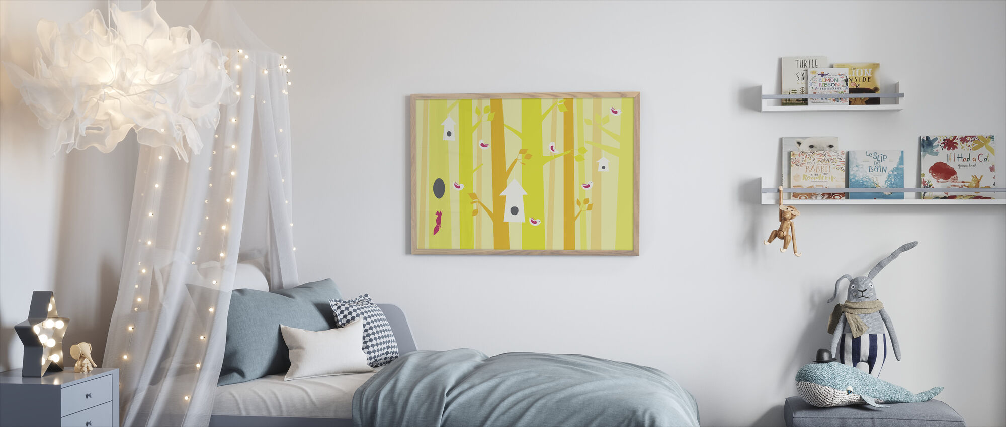 Birdforest - Yellow and Pink - Framed print - Kids Room