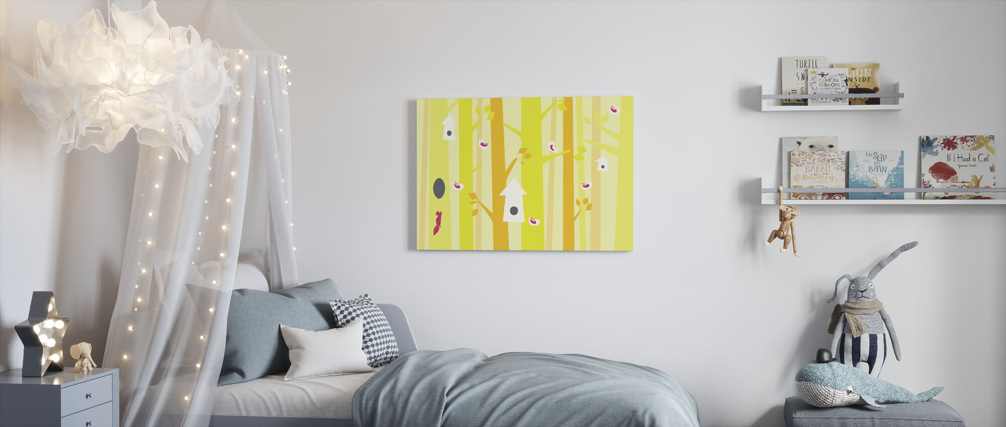 Birdforest - Yellow and Pink - Canvas print - Kids Room