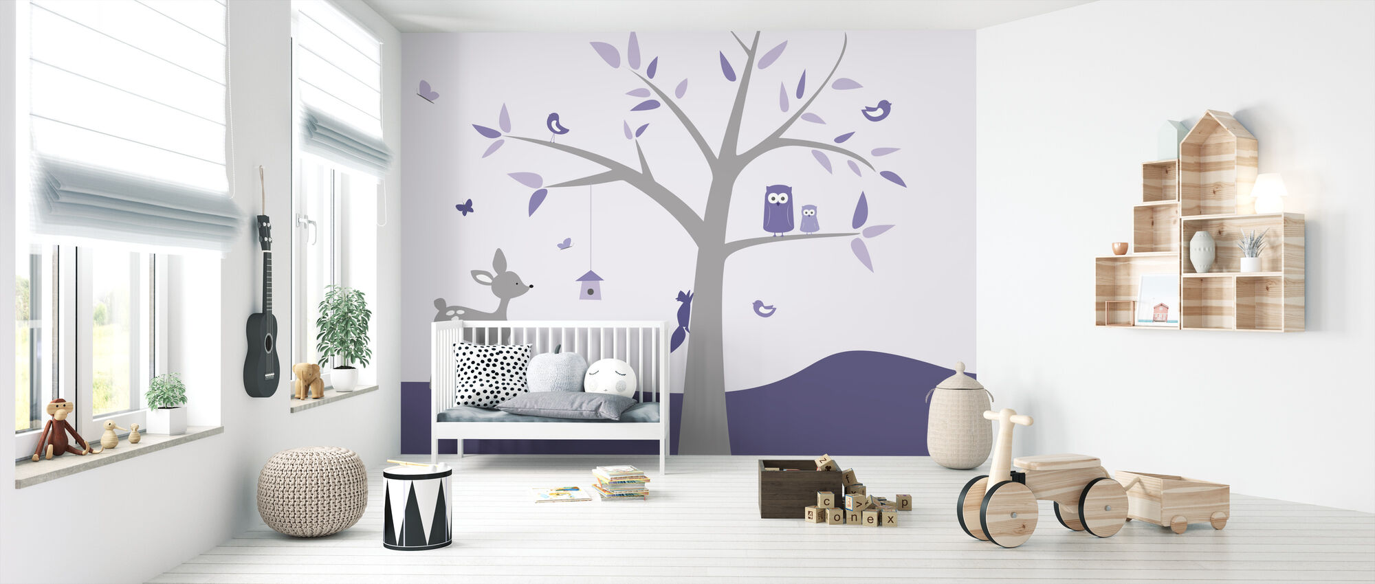 Animal Tree Purple Deer - Tapete - Babyzimmer