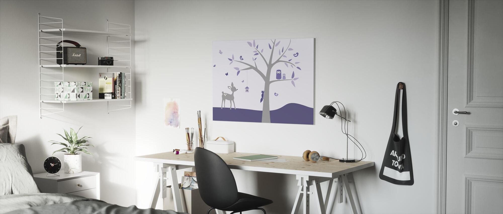 Djur Träd Lila Hjort - Canvastavla - Barnrum