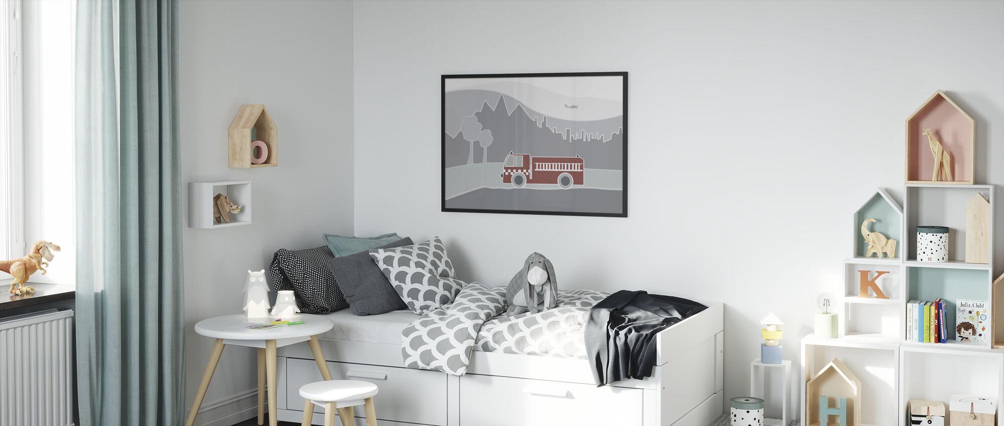 Fire Truck - Framed print - Kids Room
