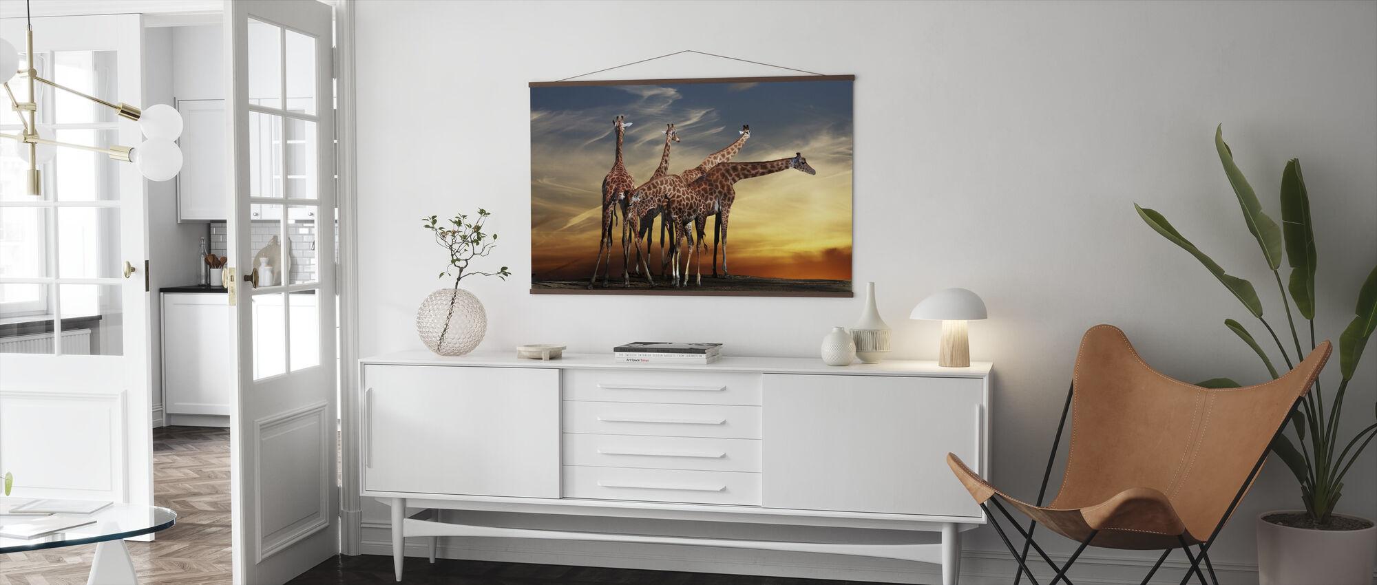 Giraffer och utsikt - Poster - Vardagsrum