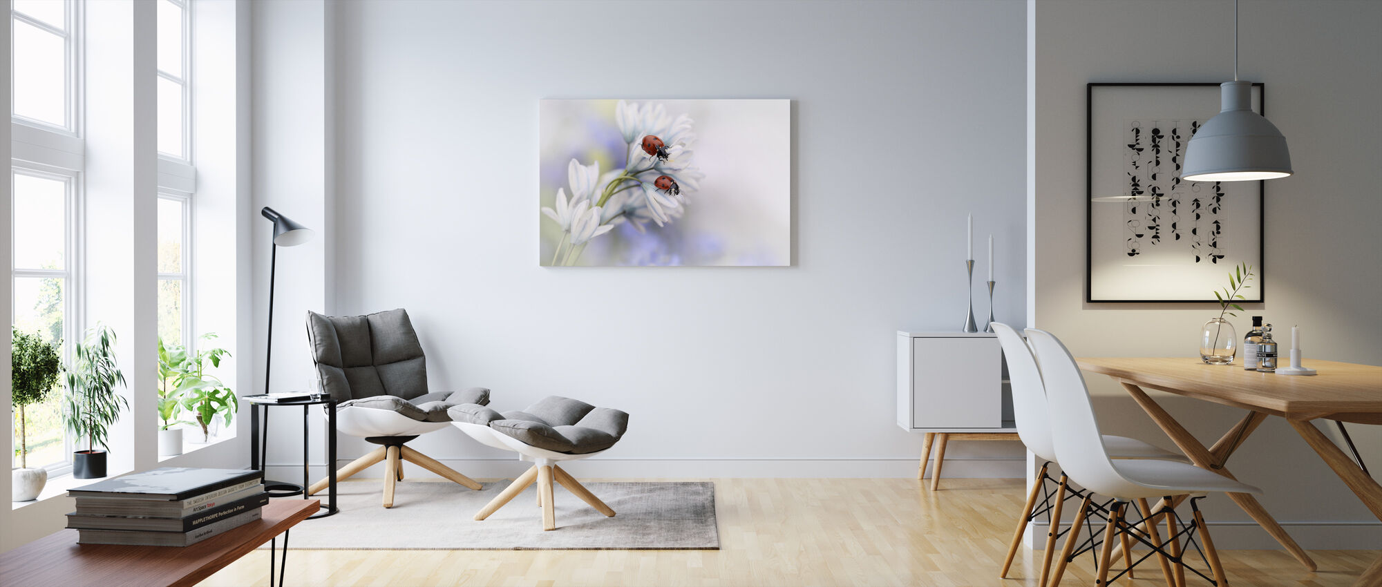 Ladybugs on White Flower - Canvas print - Living Room