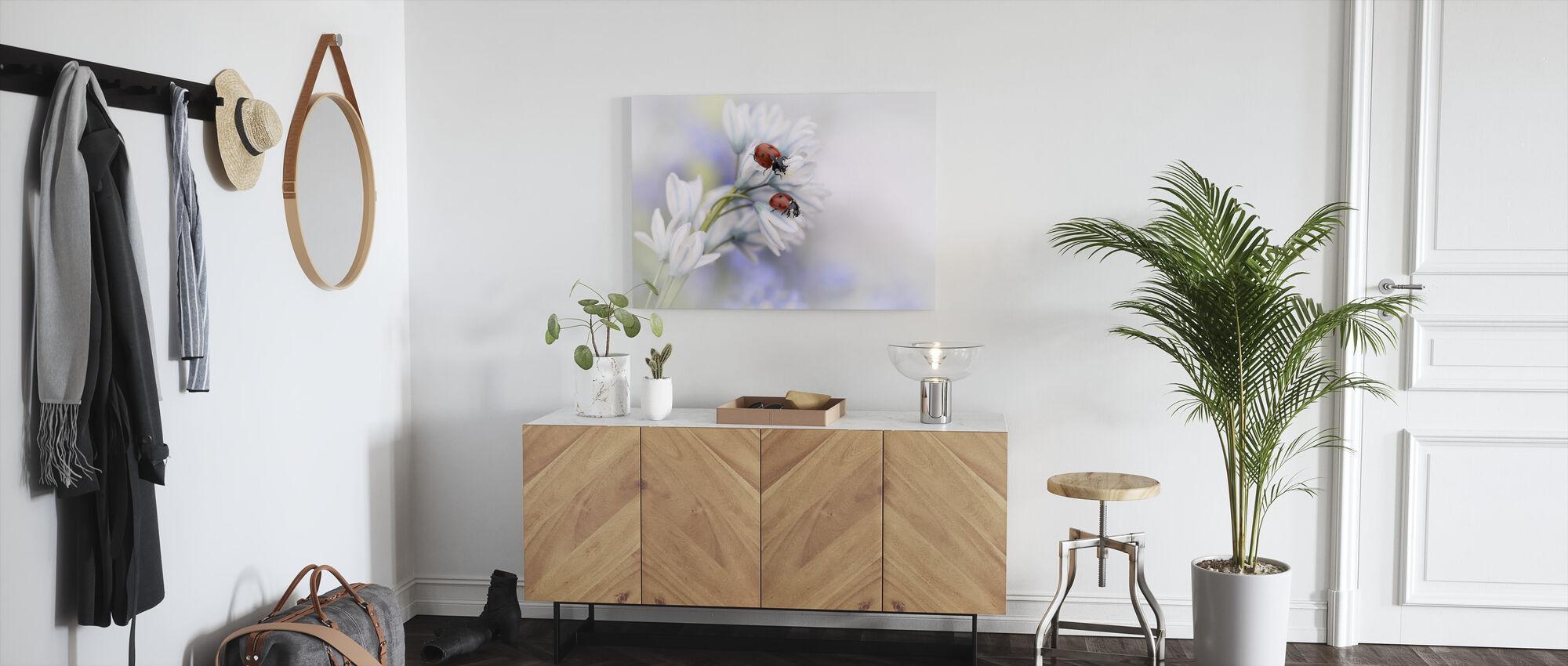 Ladybugs on White Flower - Canvas print - Hallway
