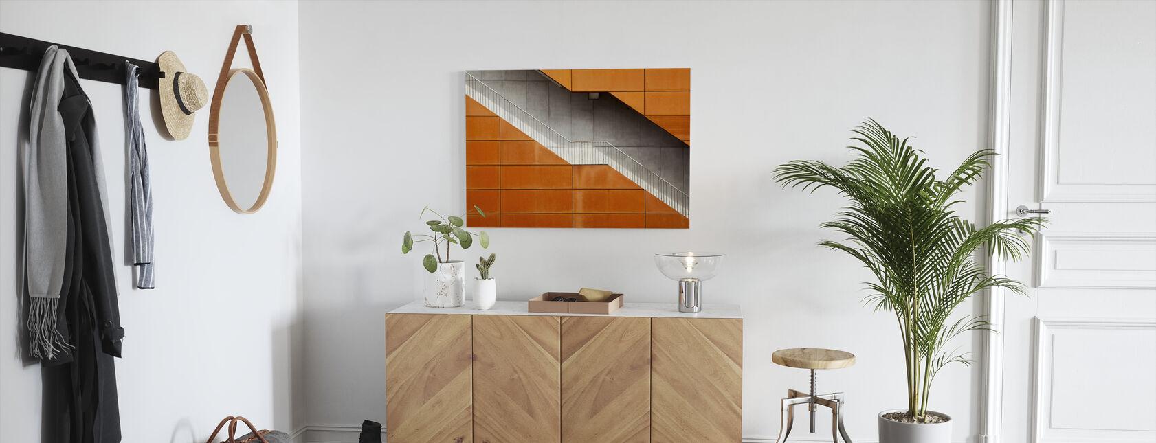 Orange Stairway - Canvas print - Hallway