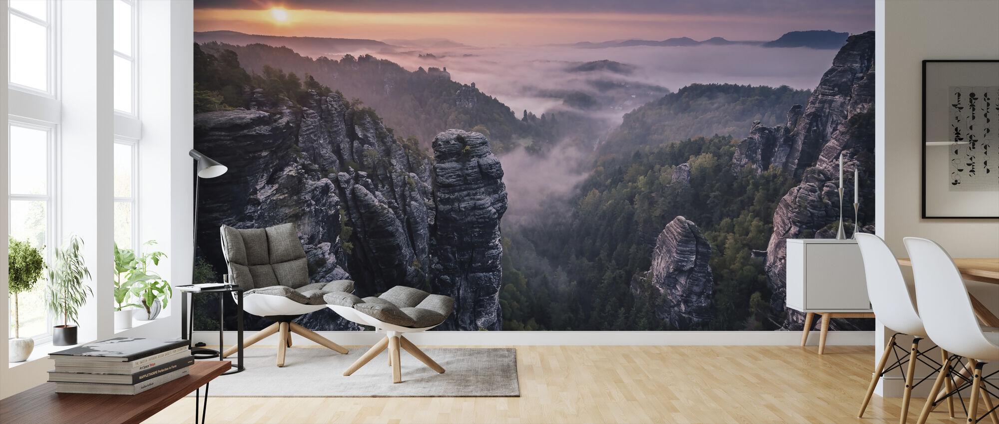 Auringonnousu kallioilla - Tapetti - Olohuone