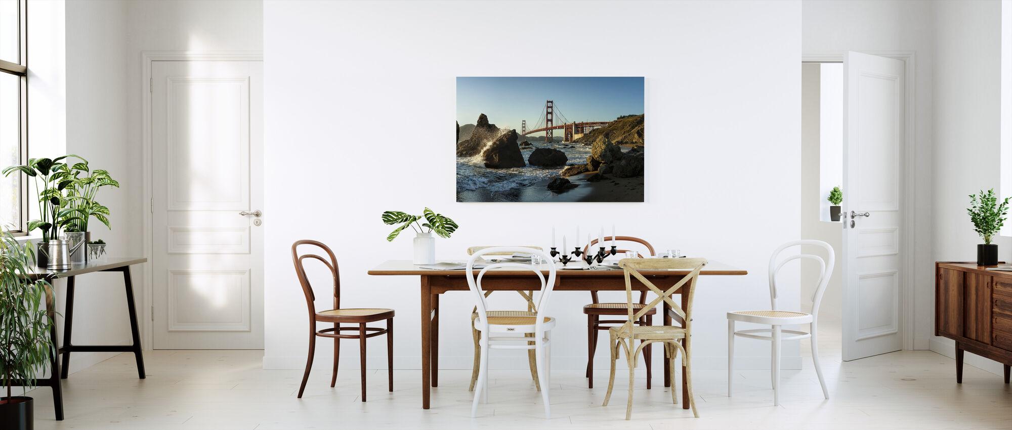 Klipper og Golden Gate - Billede på lærred - Køkken