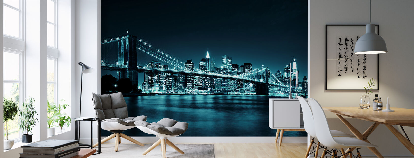 Brooklyn Bridge - Blue - Wallpaper - Living Room