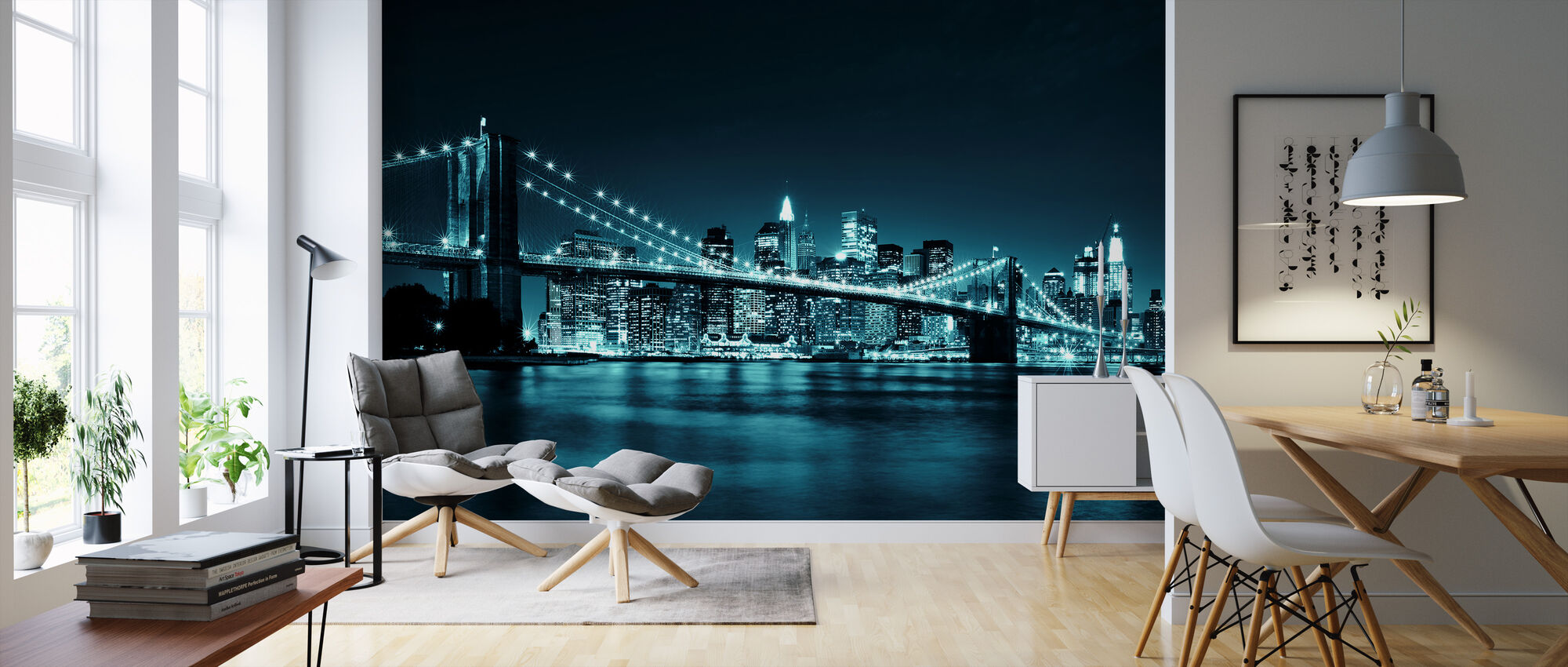 Brooklyn Bridge - Blauw - Behang - Woonkamer