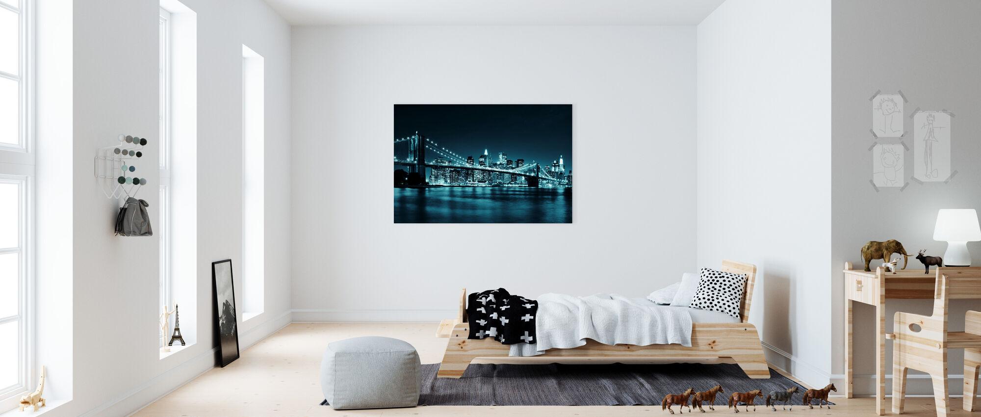 Brooklyn Bridge - Blue - Canvas print - Kids Room
